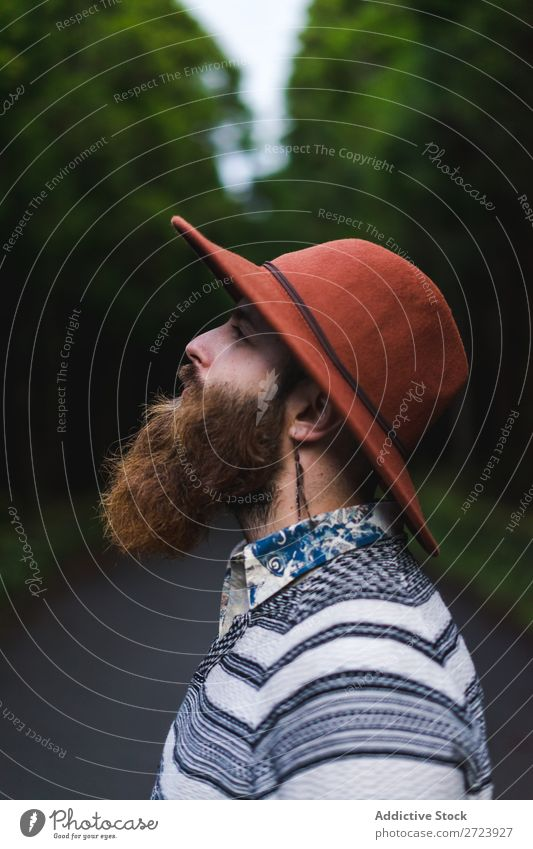 Bearded man in hat on road Tourist Nature Man bearded Forest Green Hat Street Vacation & Travel Adventure Landscape Hiking Exterior shot Vantage point Azores