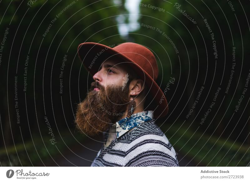 Bearded man in hat on road Tourist Nature Man Forest Green Hat Street Vacation & Travel