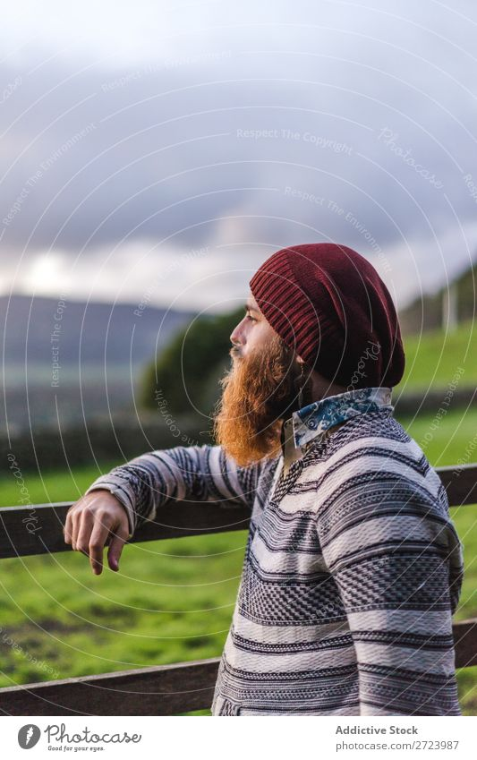 Bearded man at fence on field Tourist Nature Man bearded Fence Field Wood Looking into the camera Green Vacation & Travel Adventure Landscape Hiking Azores