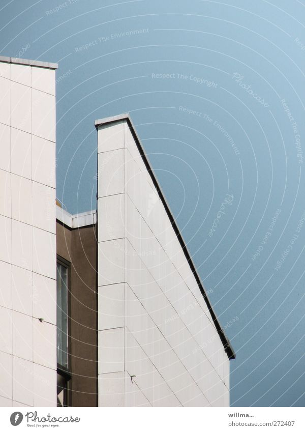niche existence Cloudless sky Chemnitz House (Residential Structure) High-rise Building Architecture Wall (barrier) Wall (building) Facade Blue White Niche Tilt