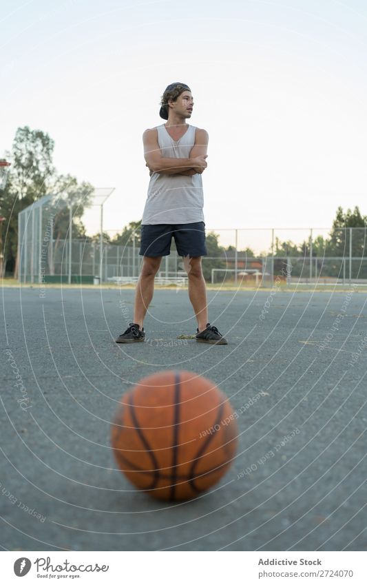 Basket ball and player on background Basketball Ball Sports ground Park Orange Object photography Ground Action Fitness Summer Structures and shapes Practice