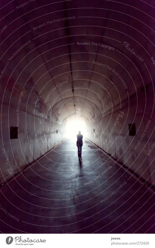 THE LAST WAY Feminine Woman Adults 1 Human being Tunnel Going Dark Infinity Bright Gray White Anticipation Brave Caution Calm Belief Religion and faith Death