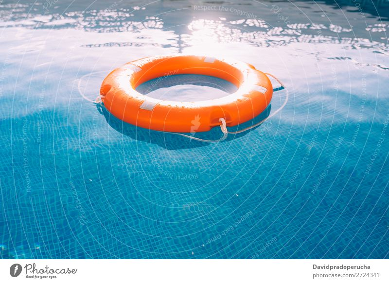 Lifesaver in the swimming pool lifesaver Swimming pool Lifebuoy Safety safe Float in the water Sunlight Help aid Buoy SOS Summer Emergency Safety (feeling of)