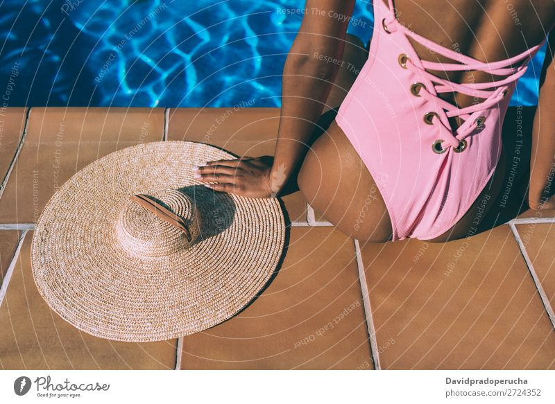 Woman relax in swimming pool with a straw hat Feminine Young woman Youth (Young adults) Adults Body Legs Feet 1 Human being 18 - 30 years Swimming & Bathing