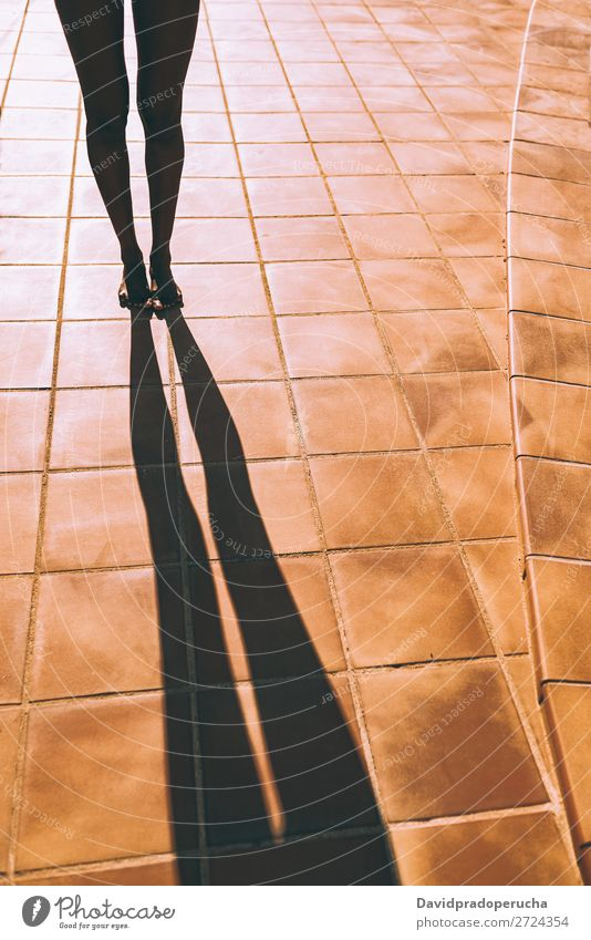 Woman legs making a shadow on the floor Feminine Young woman Youth (Young adults) Adults Body Legs Feet 1 Human being 18 - 30 years Swimming & Bathing Ankle