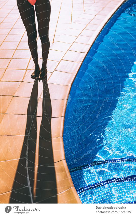 Woman legs making a shadow by the poolside Feminine Young woman Youth (Young adults) Adults Body Legs 1 Human being 18 - 30 years Vacation & Travel