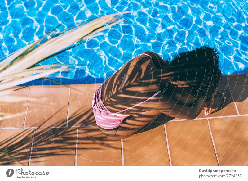 Woman in swimming pool with a palm tree shadow Feminine Young woman Youth (Young adults) Adults Body 1 Human being 18 - 30 years Water Sun Summer
