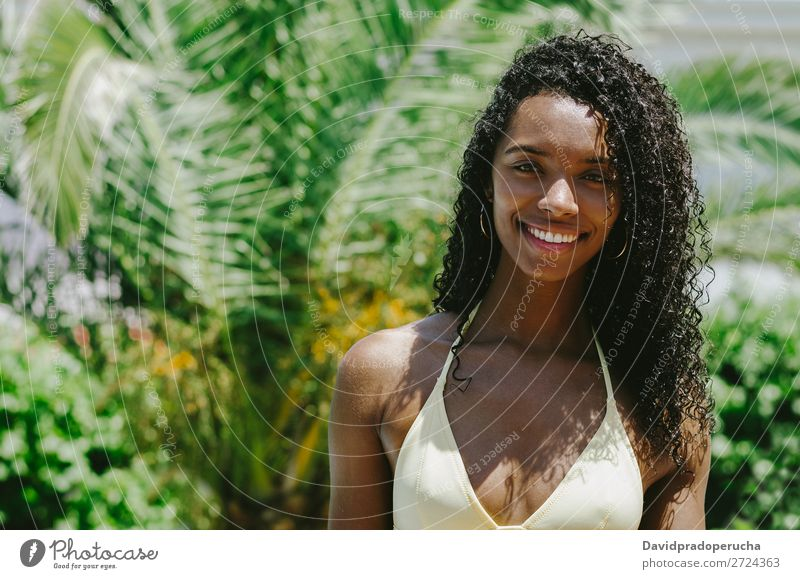 Portrait of a exotic black woman in a swimwear Woman Black Ethnic Beauty Photography Exotic Cute Girl Attractive Youth (Young adults) Caribbean African Tropical