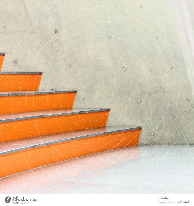 Designer Levels Manmade structures Building Architecture Wall (barrier) Wall (building) Stairs Facade Gray Orange Sit Concrete Concrete wall Abstract Style