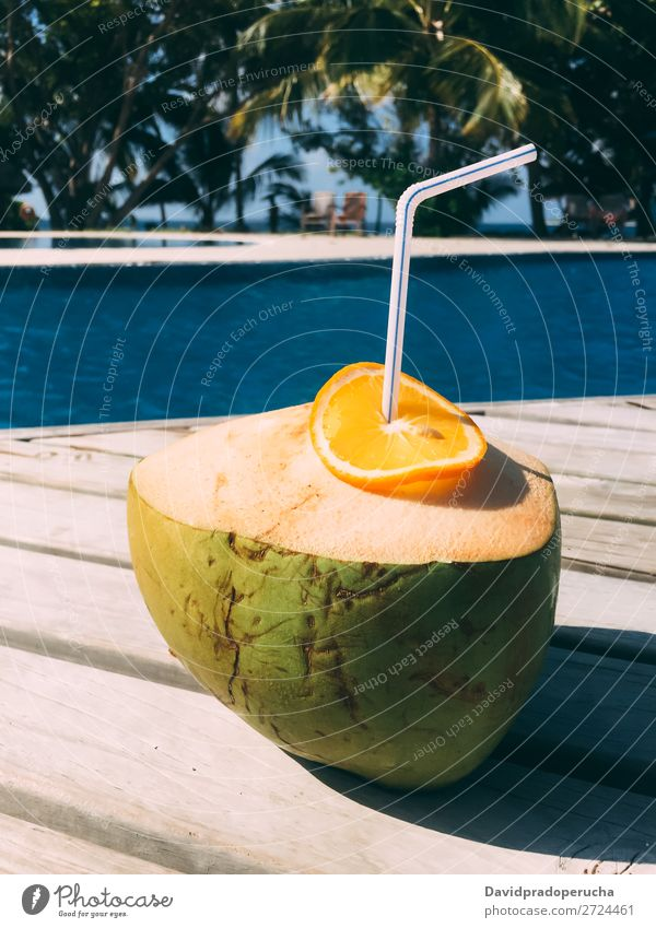 Fresh coconut by the swimming pool Maldives Coconut Orange Fruit Juice Healthy Vacation & Travel Drinking Resort Relaxation Island Idyll Luxury scenery Rest