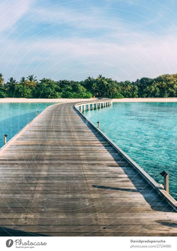 Maldives island luxury resort wooden pier Beach Jetty Vacation & Travel Ocean Lagoon Island Sand Idyll Luxury scenery Coast Tropical Paradise Exotic Reef