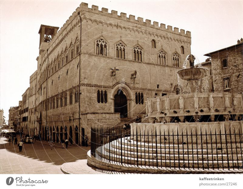 Europe Italy Well Tourist Sepia Fountain Attraction Perugia