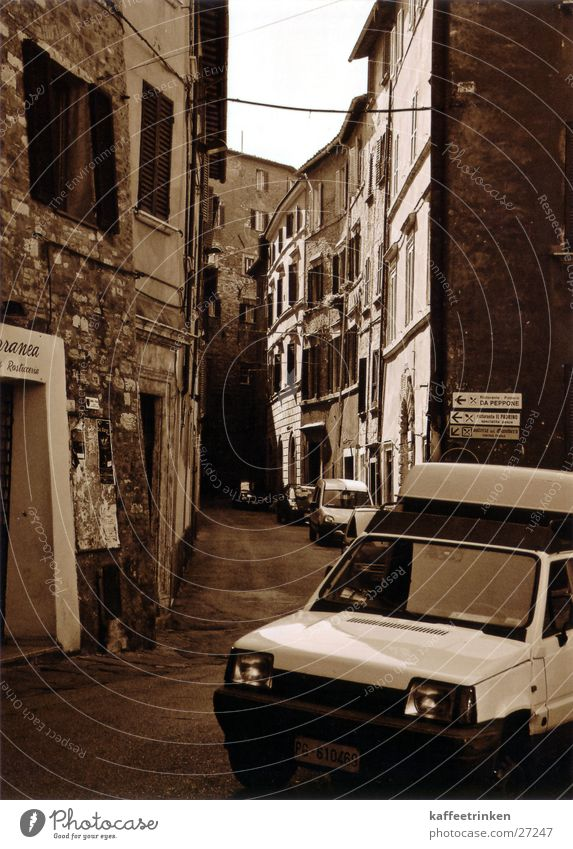 Perugia - Italy Alley Tourist Attraction Europe Mediterranean Sepia Black & white photo