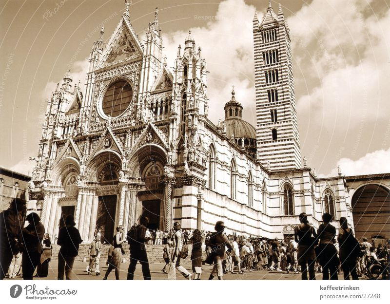 Europe Tuscany Italy Tourist Dome Sepia Marble Attraction Siena
