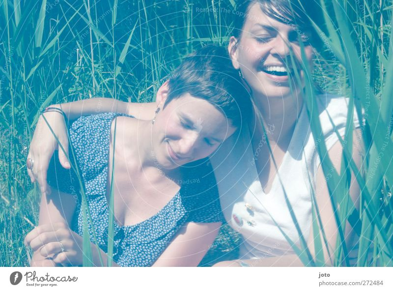 Human being Youth (Young adults) Summer Joy Feminine Happy Laughter Friendship Together Contentment Happiness Smiling Touch Trust Attachment Common Reed
