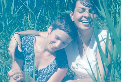twosome Feminine Homosexual Youth (Young adults) 2 Human being Summer Common Reed Touch Smiling Laughter Happiness Happy Positive Joy Contentment