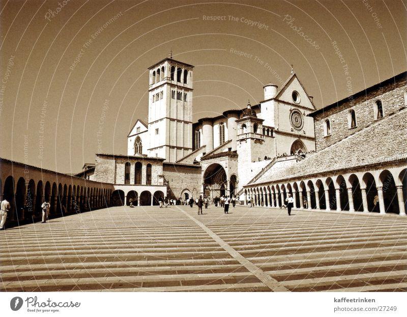 Assisi - Italy Tourist Attraction Europe Basilica Mediterranean Sepia Black & white photo