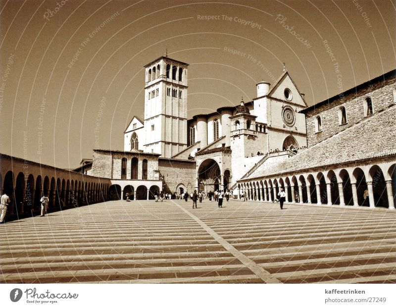 Europe Italy Tourist Sepia Attraction Basilica Assisi