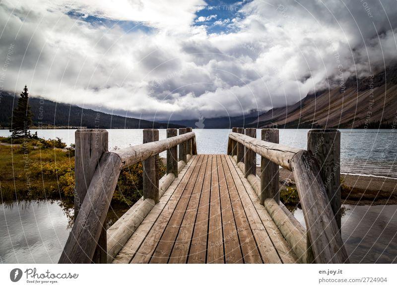 stepping stone Vacation & Travel Trip Nature Landscape Clouds Autumn Mountain Lakeside bow lake Bridge Footbridge Wooden bridge Bridge railing Sustainability