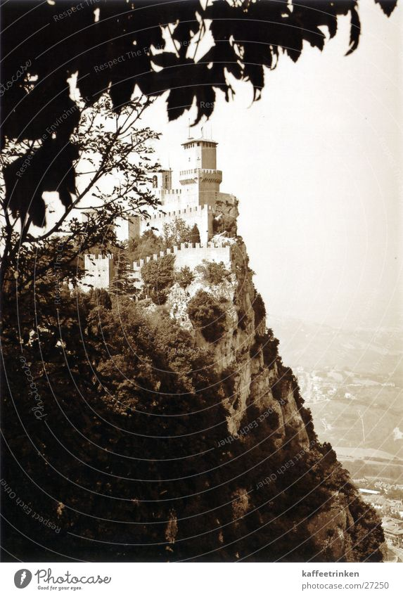 Europe Italy Tourist Slope Sepia Cliff Fortress Attraction San Marino