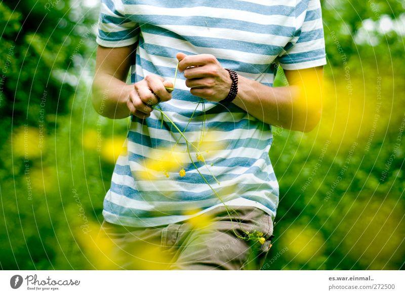 Human being Yellow Warmth Masculine Esthetic Beautiful weather Marsh marigold Striped sweater