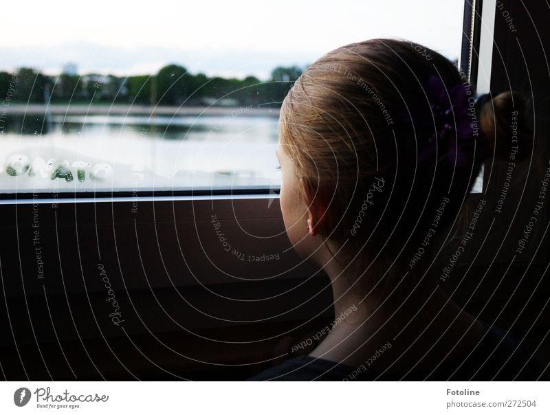 Mom when's summer??? Human being Feminine Child Girl Infancy Skin Head Hair and hairstyles Face Ear Back 1 Lake Airplane window Window Window pane Glass Pane