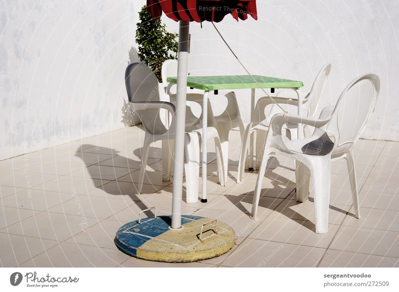 Old White Relaxation Cold Wall (building) Wall (barrier) Stone Garden Bright Sit Concrete Table Living or residing Chair Simple Plastic