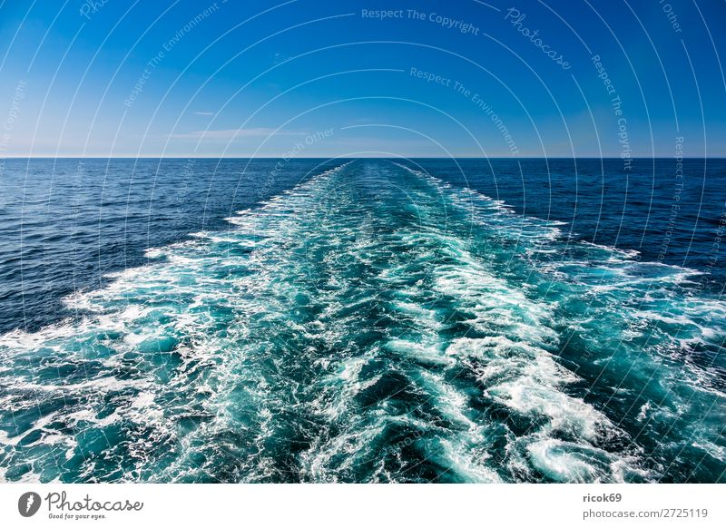 stern water of a ship in the North Sea Relaxation Vacation & Travel Tourism Cruise Ocean Waves Nature Landscape Water Clouds Watercraft Maritime Blue White