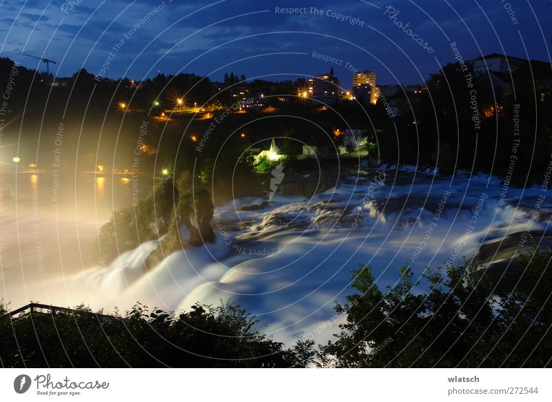 View of the waterfall Beautiful Vacation & Travel Tourism Trip Hiking Nature Landscape Water Night sky Rock River Waterfall Village Town Stone Famousness