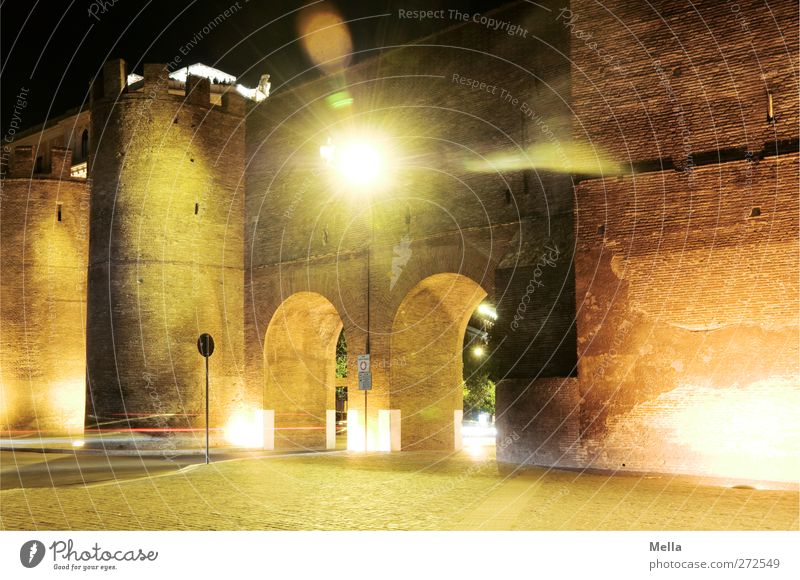 Input, Output Vacation & Travel Tourism Sightseeing City trip Night life Architecture Rome Italy Europe Town Capital city Deserted Tower Gate Manmade structures