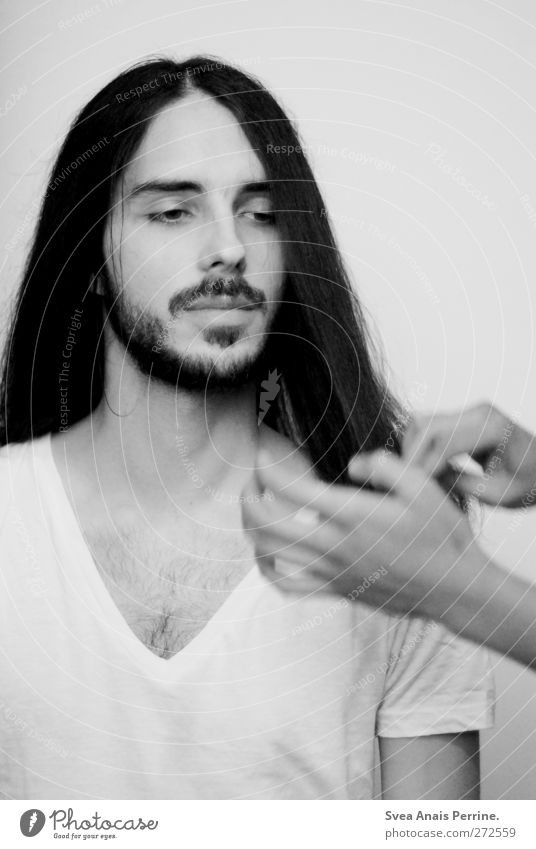 Human being Youth (Young adults) Hand Beautiful Adults Face Hair and hairstyles Fashion Young man Elegant Masculine 18 - 30 years T-shirt Thin Chest Facial hair