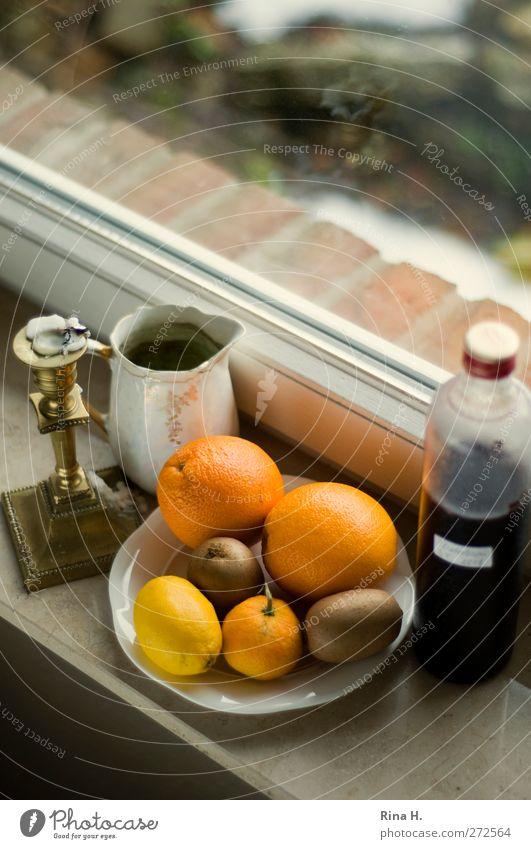 Kitchen style III Fruit Orange Kiwifruit Lemon Juice Plate Window Living or residing Authentic Window board Candle holder Colour photo Interior shot Deserted