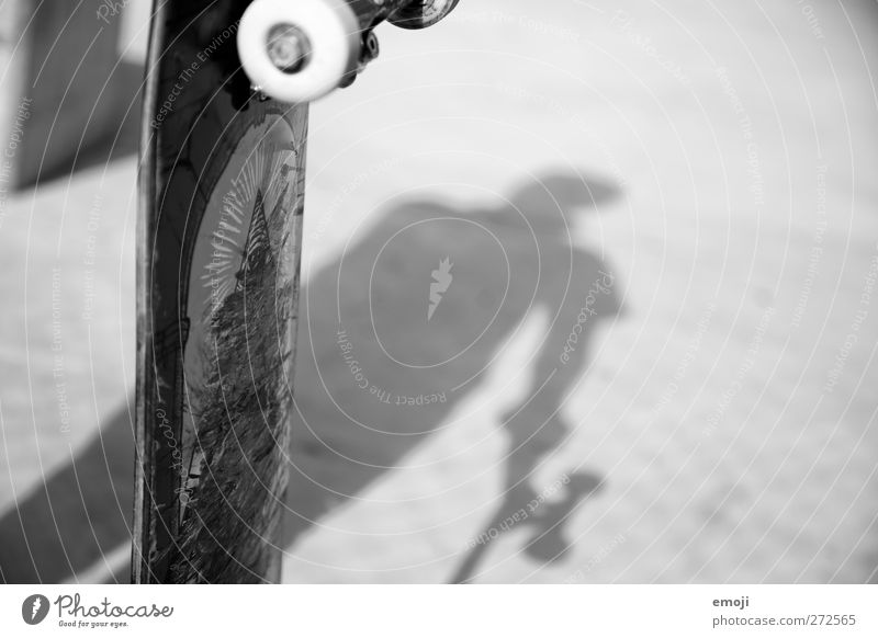 sk8 Leisure and hobbies Skateboarding Sports 1 Human being Concrete Black & white photo Exterior shot Copy Space right Day Light Shadow Contrast Silhouette