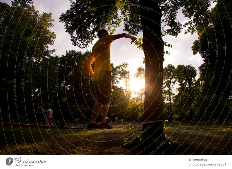 Human being Nature Youth (Young adults) Tree Sun Summer Calm Meadow Sports Life Park Young man Leisure and hobbies Illuminate Rope Individual