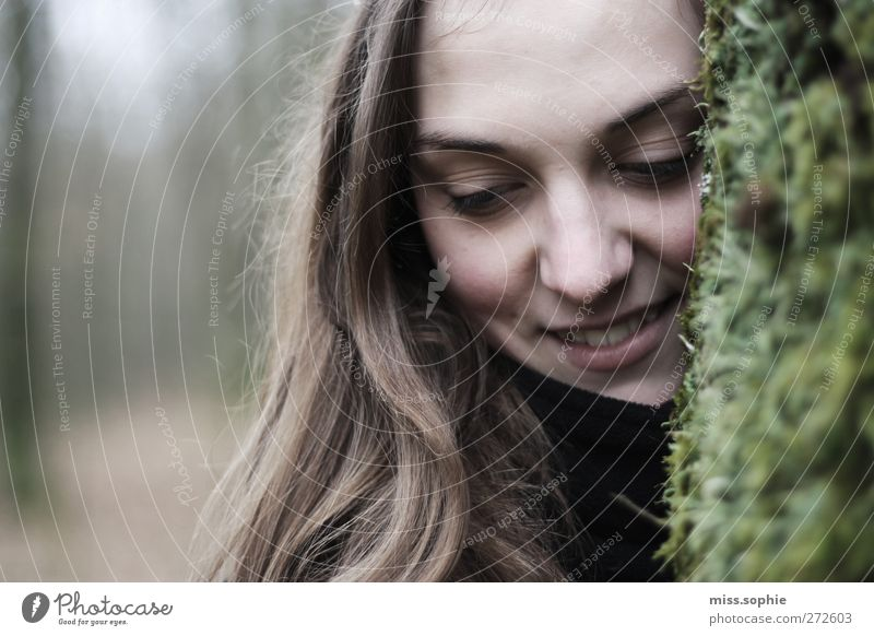 Youth (Young adults) Green Beautiful Tree Face Forest Feminine Life Autumn Hair and hairstyles Happy Laughter Young woman Dream Brown Contentment