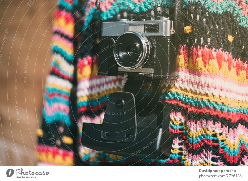 cropped woman with vintage old camera and colorful sweater Vintage Camera Retro Woman Old Youth (Young adults) Partially visible reel Anonymous Unrecognizable