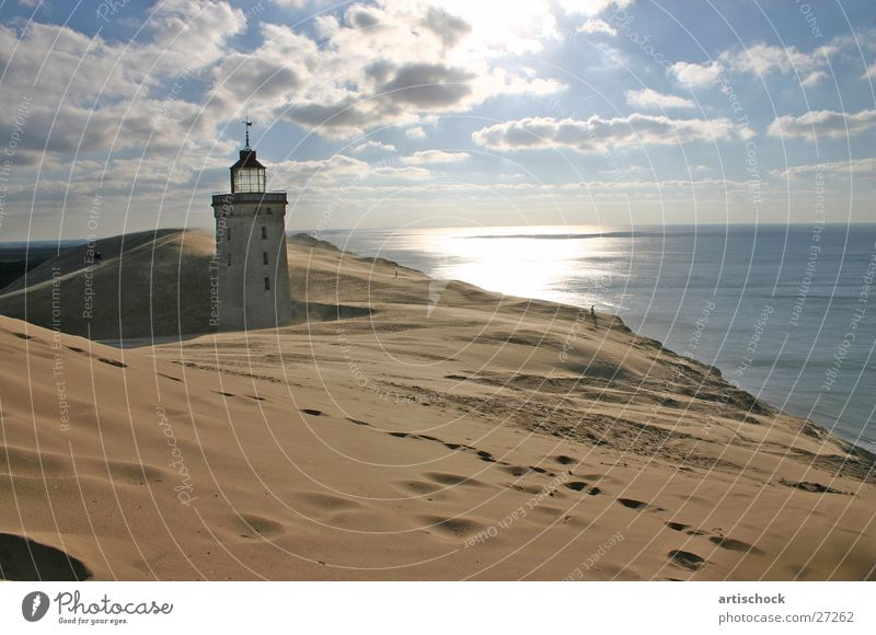 Ocean Clouds Sand Beach dune Lighthouse Denmark