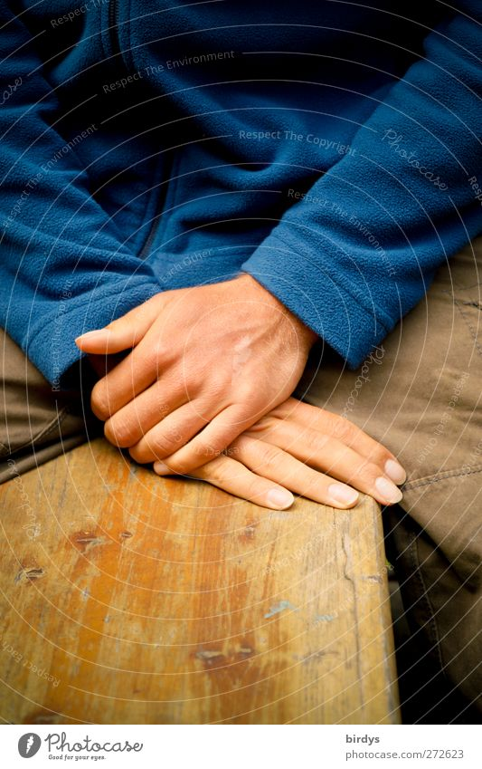 Human being Youth (Young adults) Blue Hand Calm Yellow Contentment Young man Sit Esthetic Fingers Sweater Patient Ale bench