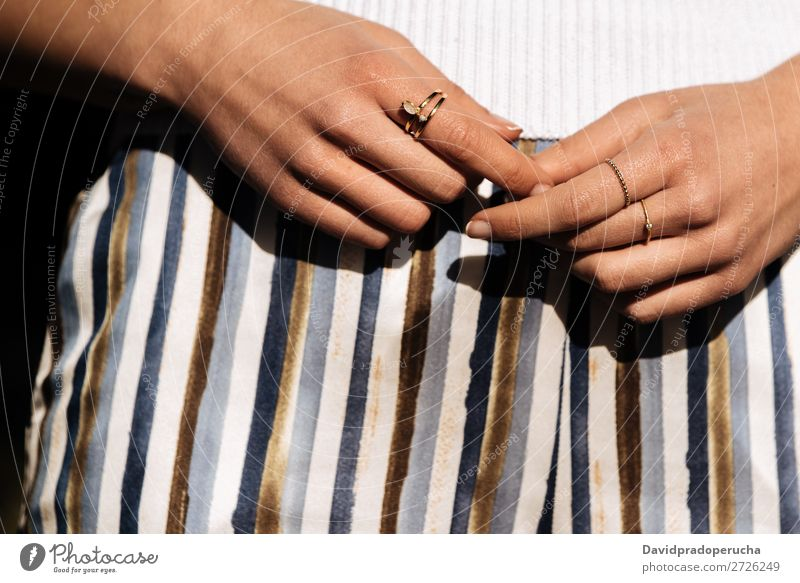 Crop woman hands with rings on the street Hand Woman Close-up Portrait photograph Youth (Young adults) pretty nails Manicure Town Crops Partially visible