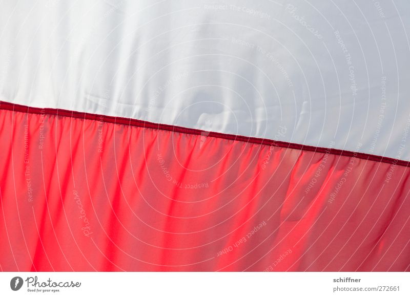 Here we go! Red White Flag Poland Polish Cloth Stitching Wrinkles Folds Ensign Colour photo Exterior shot Deserted Copy Space top Copy Space bottom