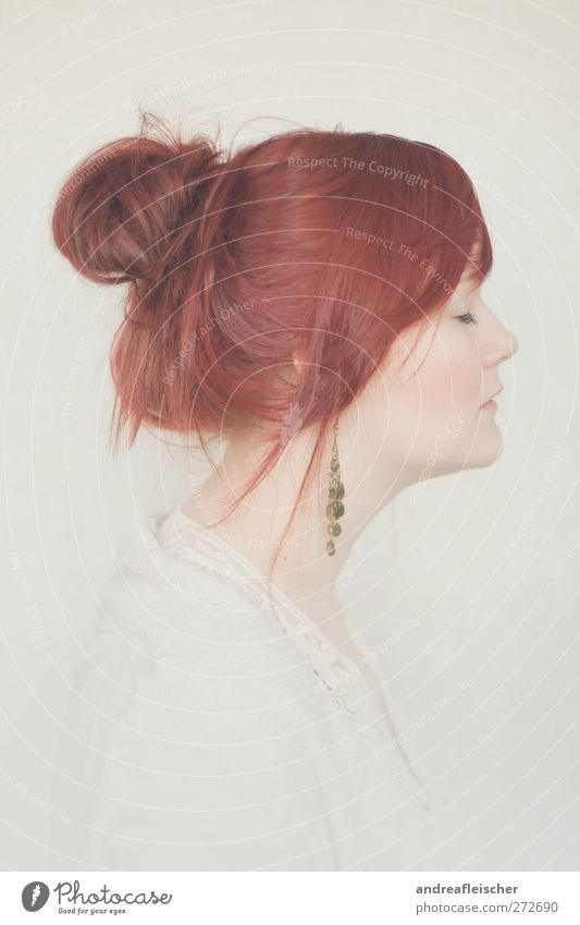 Human being Woman Youth (Young adults) Calm Adults Feminine Young woman 18 - 30 years Esthetic Romance Soft Delicate Jewellery Bangs Braids Red-haired