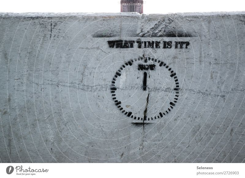 running out Measuring instrument Clock Wall (barrier) Wall (building) Facade Sign Characters Signs and labeling Graffiti Running Responsibility Attentive