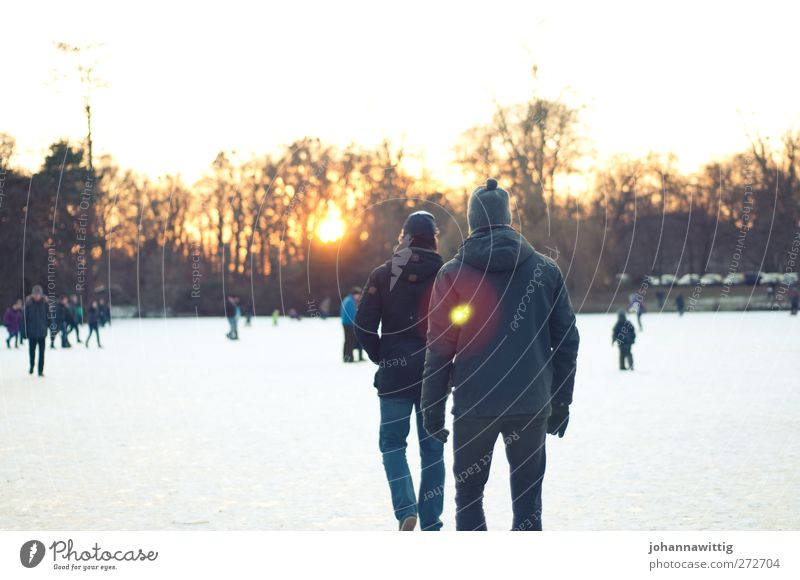 Human being Youth (Young adults) Sun Winter Adults Environment Cold Life Lake Friendship 2 Park Ice Orange Together Going