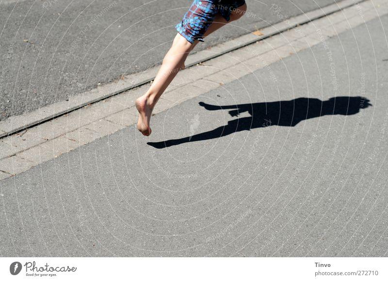 Human being Summer Street Movement Gray Jump Legs Feet Leisure and hobbies Walking Speed Beautiful weather Asphalt Running Athletic Traffic infrastructure