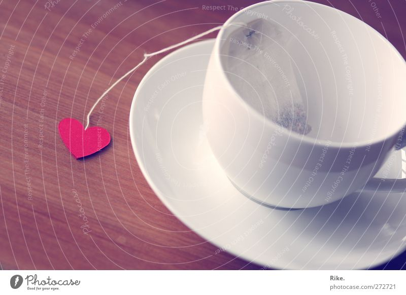 With heart. Beverage Hot drink Tea Lifestyle Leisure and hobbies Table Cup Porcelain Crockery Teabag Heart Relaxation To enjoy Love Beautiful Kitsch Red