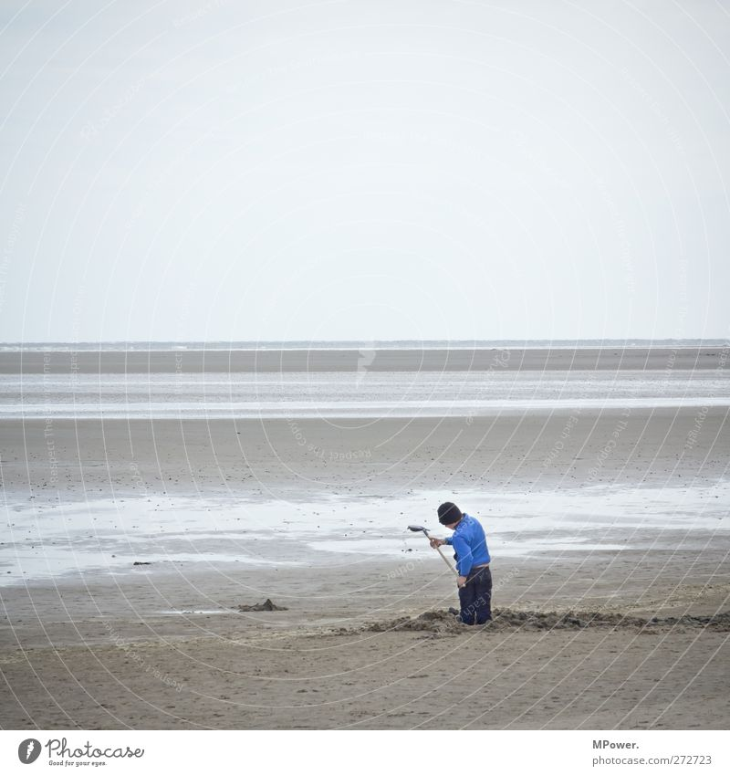 Human being Child Sky Blue Vacation & Travel Ocean Beach Far-off places Landscape Playing Boy (child) Coast Sand Horizon Infancy Island