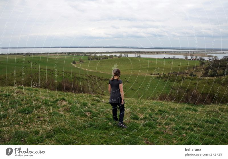 Human being Child Sky Nature Water Ocean Girl Clouds Environment Far-off places Landscape Meadow Life Spring Grass Coast
