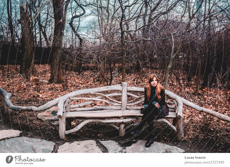 Girl at the Central Park in Manhattan, New York City Vacation & Travel Tourism Winter Garden Woman Adults Environment Nature Clouds Autumn Tree Grass Leaf