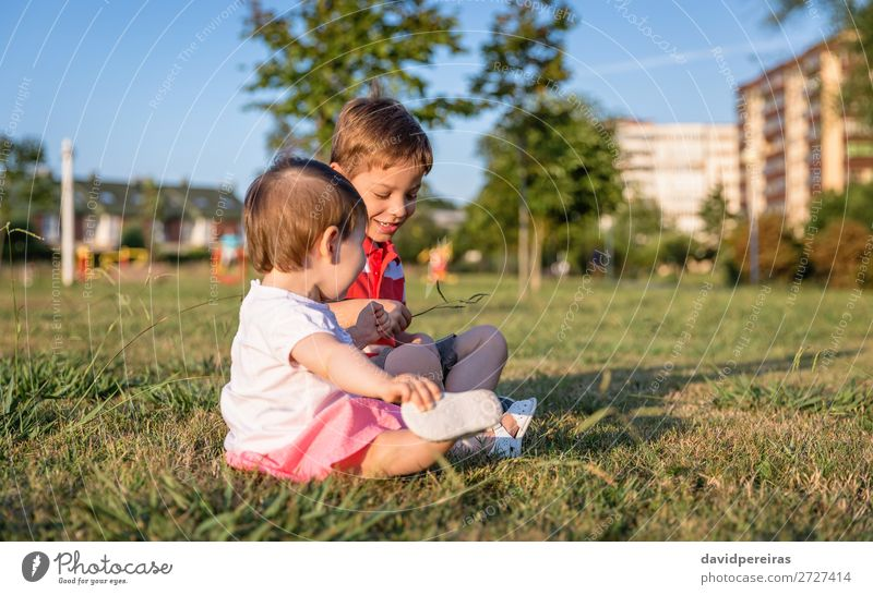 Baby girl and child playing sitting on a grass park Lifestyle Joy Happy Beautiful Leisure and hobbies Playing Summer Garden Child Human being Toddler