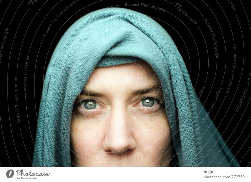 Seeing is believing? Lifestyle Woman Adults Face Face of a woman Eyes 30 - 45 years Headscarf Looking Exceptional Dark Near Blue Black Emotions Moody